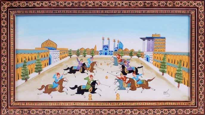 تابلوی نقاشی دیواری بازی چوگان در میدان نقش جهان